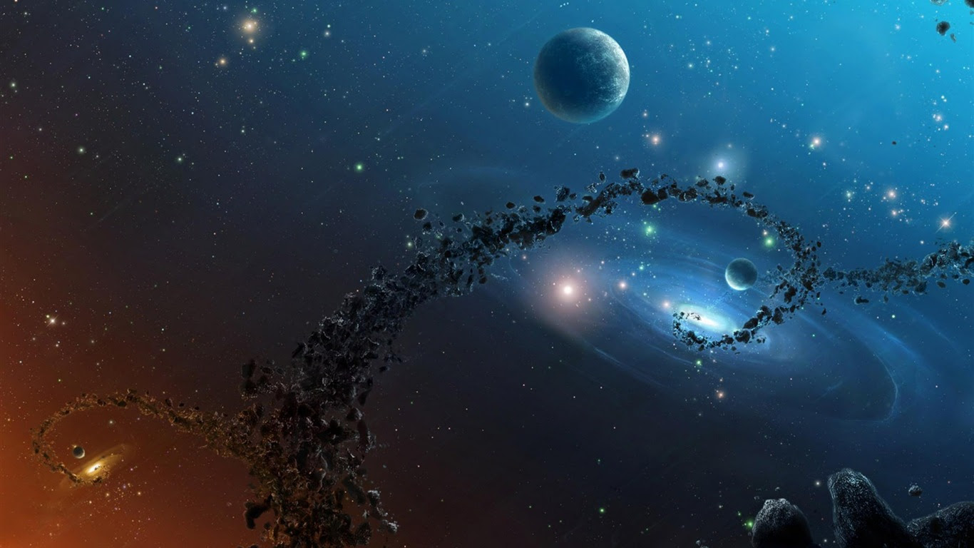 1366x768 3d Hd Space Wallpaper