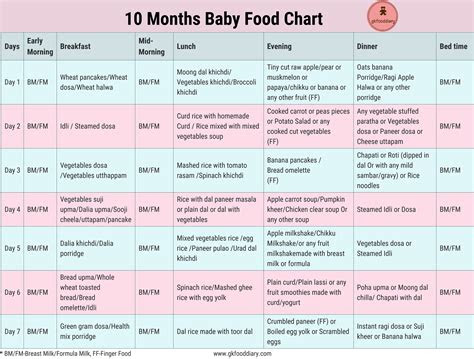 months indian baby food chart meal plan  diet chart