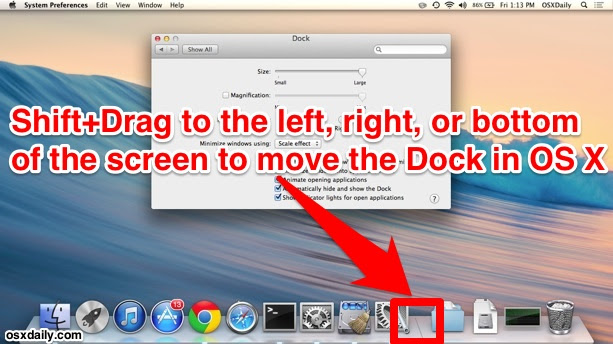 Shift and Drag to move the Dock on screen in Mac OS X