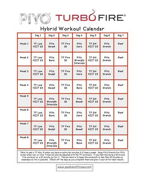 piyoturbofire hybrid calendar craigs fitness workout