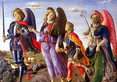 San Miguel Arcángel, San Rafael con Tobías, y el ángel Gabriel