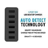 CHOETECH 50W 6ポート USB充電器 ACアダプタ (6ポート充電器, 黒)