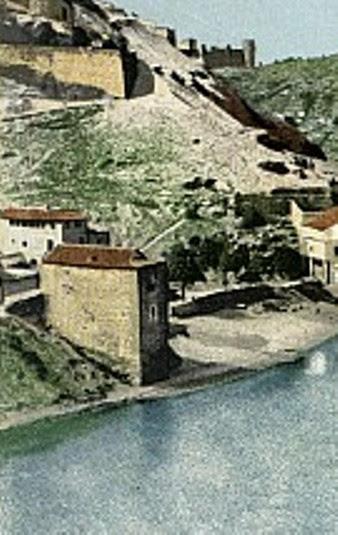 Torre del Hierro de Toledo hacia 1900. Foto Purger (coloreada)
