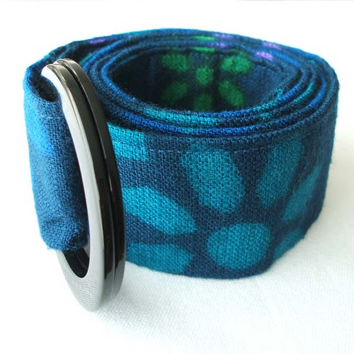 Blue blast vintage fabric belt