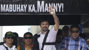 Manny Pacquiao returns home, speaks of Mayweather rematch, retirement