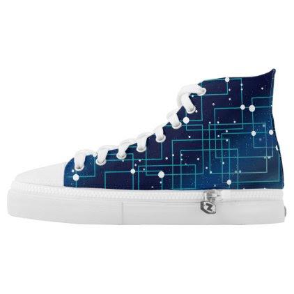 Dark Blue Network Pattern High-Top Sneakers
