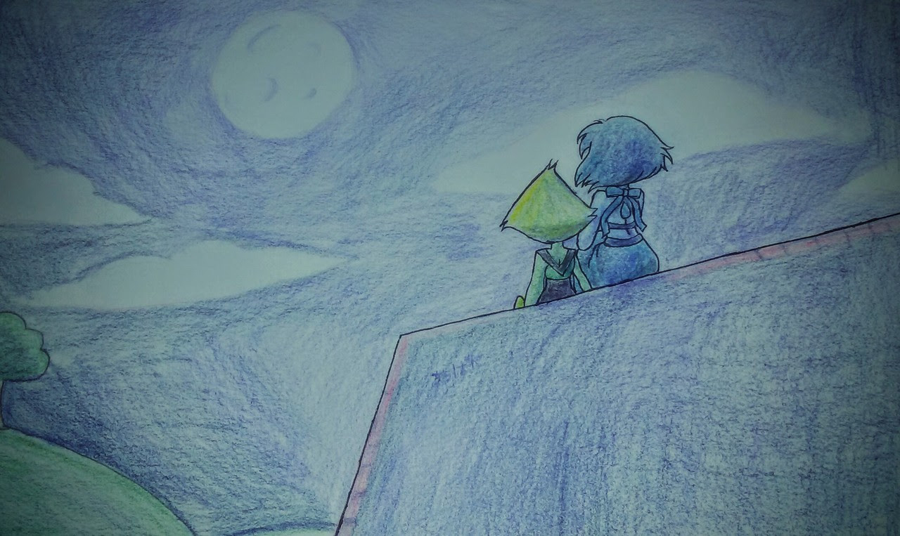 "Last piece of ""flood"" is something I did. Lapis and Peri looking at the moon. Not sure why I made it, but I like it~"
