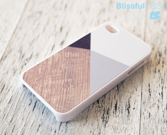 iphone 4 case - grey color block with wood print