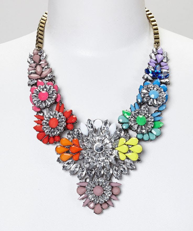 Rainbow Flower Crystal Statement Bib Necklace