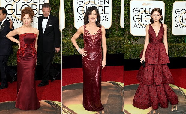 Top 10 Globo de Ouro 2016 - Marsala - Bernadette Peters, Felicity Huffman e Zendaya (Foto: AFP)