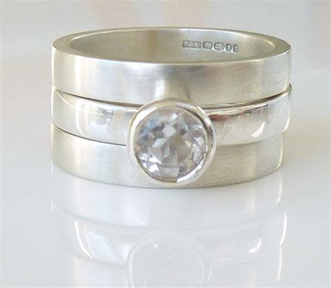 White topaz triple wedding ring set engagement ring and two