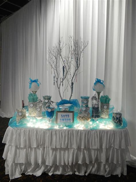 Wedding Candy Buffet by Sugarpalooza. Using tea lights or