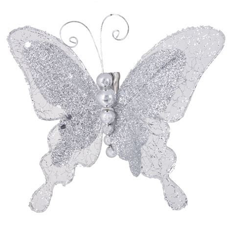 Silver Glitter & Lace Jewelled Butterfly With Beaded Body