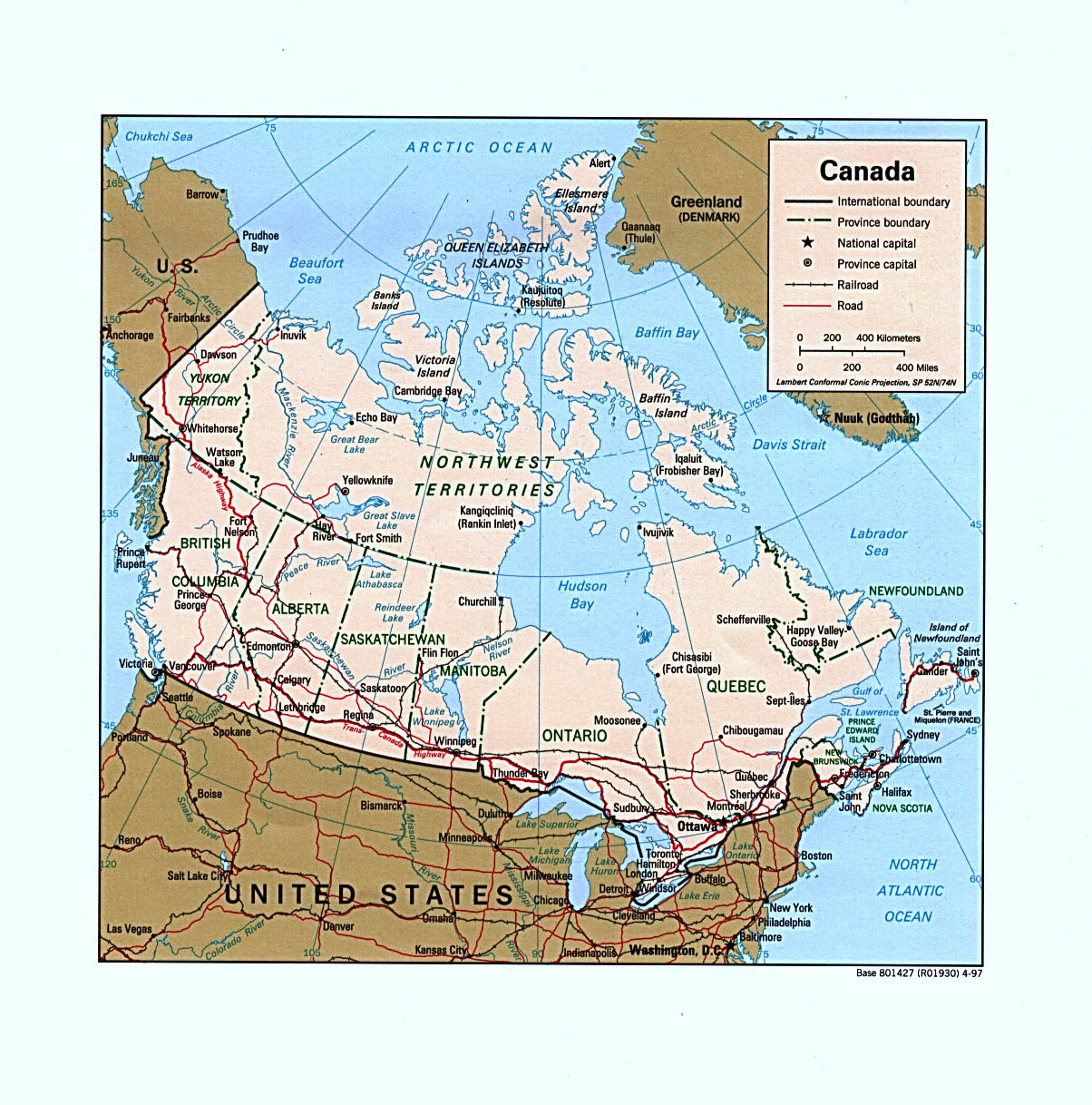 Map Us And Canada Cities 66 Labeled With Map Us And Canada Cities