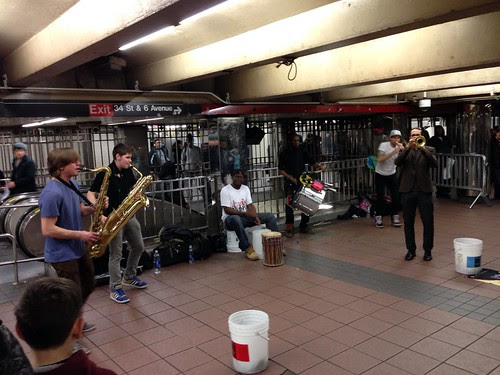 Subway musicians, jamming