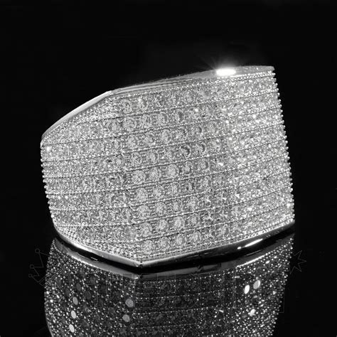 18K White Gold 19mm ICED OUT 360 Simulated Lab Diamond