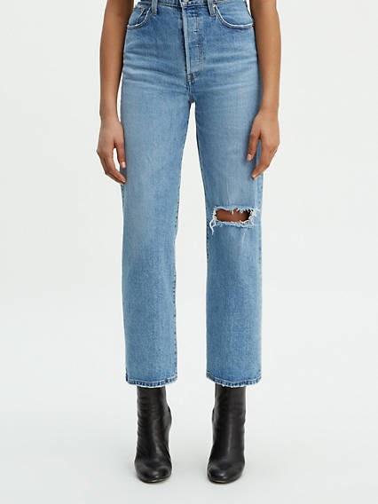 Jean Femme Coupe Large Taille Haute - Partager Taille Bonne