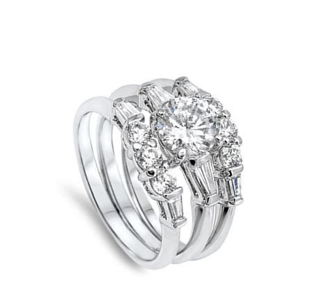 White CZ Wholesale Wedding Set Ring New .925 Sterling