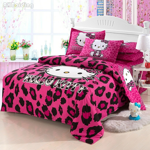14d207dc9 Cheap Home Textile Brand Logo Hello Kitty Bedding Set Cotton Children Bed  Linen Include Duvet Cover Bed Sheet Pillowcase Free Shipping