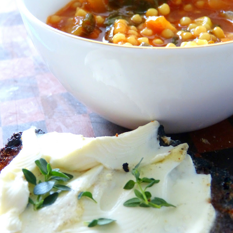 Minestrone and Herbed Goat Cheese Tartine