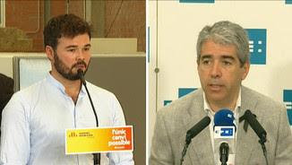 El candidat d'ERC, Gabriel Rufián, i el cap de llista de CDC per Barcelona, Francesc Homs