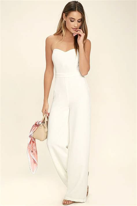 pop life white strapless jumpsuit clothes strapless