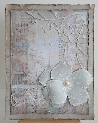 card in vintage style with dogwood flower in neutrals