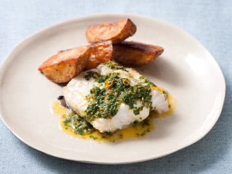 Roasted Cod and Potatoes with Orange Butter Gremolata