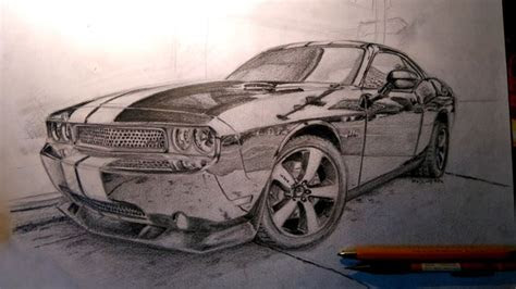 dodge challenger srt pencil drawing
