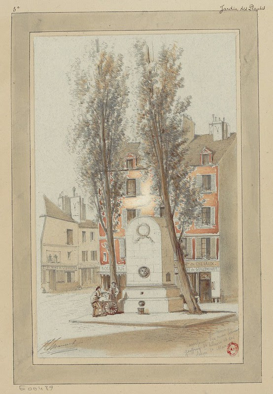 sketch of 19th cent. Parisian street square with goods cart, retailer & shopper next to a stone memorial spring or fountain