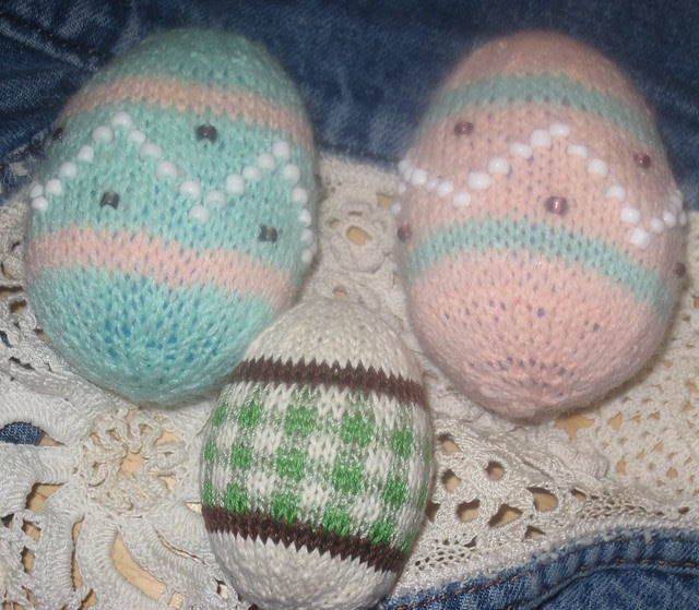daughters first knitting ( the beaded eggs)