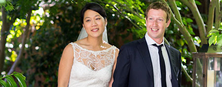 Zuckerberg wedding another smart move. This photo provided by Facebook shows Facebook founder and CEO Mark Zuckerberg and Priscilla Chan at their wedding ceremony in Palo Alto, Calif., Saturday, May 19, 2012. (AP Photo/Facebook, Allyson Magda Photography)