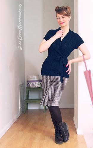 marchewkowa, szycie, krawiectwo, retro, vintage, kimonowy sweter, Lidl, spódnica wełniana, model 127, Burda 8/2011, Allegro