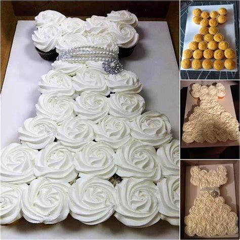 Bridal Shower Wedding Dress Cupcake Cake   Pinspired