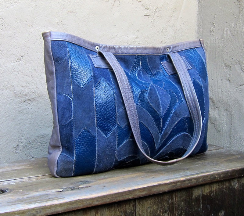 Vintage Navy Blue Patchwork Leather and Suede Medium Tote w/Grey Leather Trim - Trustfund21
