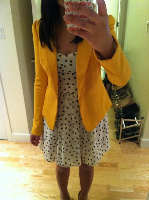 F21 Polka Dot Fit & Flare Dress, Sz S