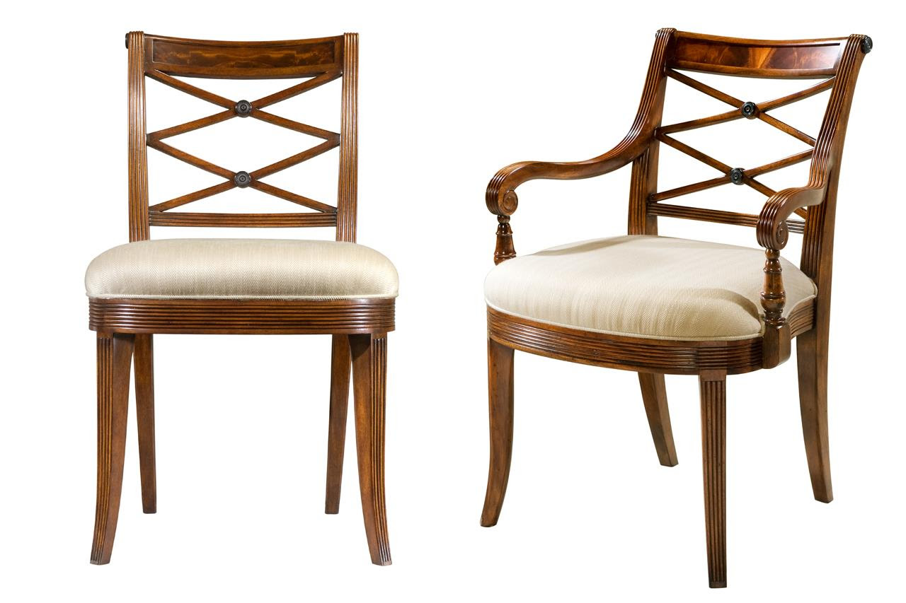 Mahogany Cross Back Dining Chairs-Fine Antique Reproductions