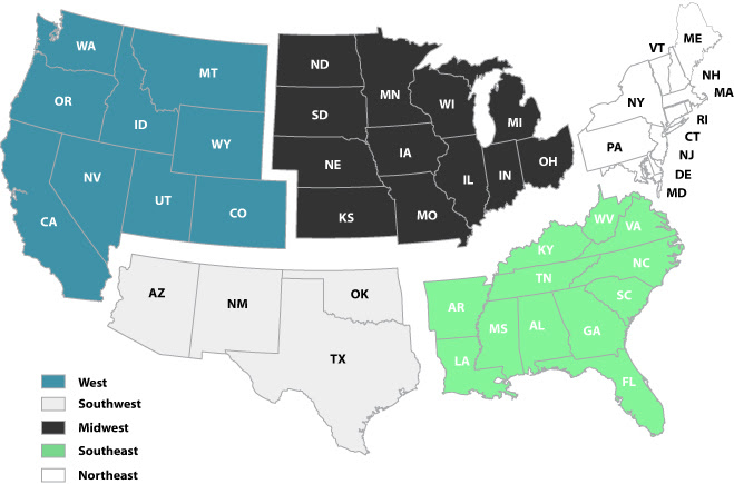 map 5 regions united states 5 region us map