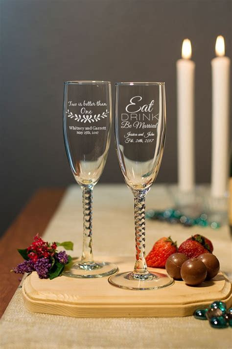Engraved Champagne Flute with Twisted Stem wedding favors