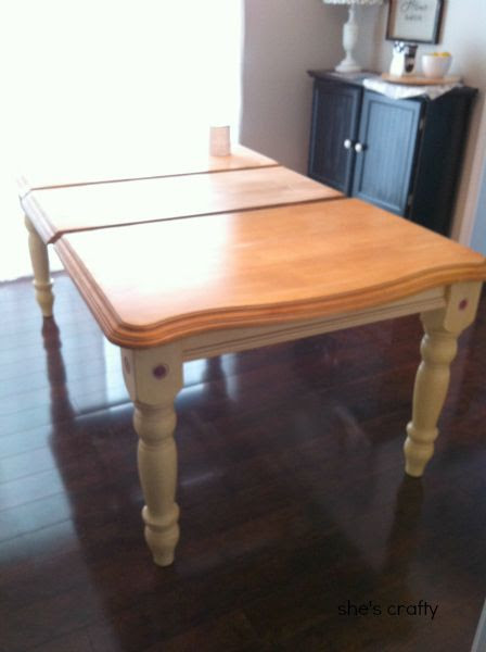 gray and white painted kitchen table, yellow stain before