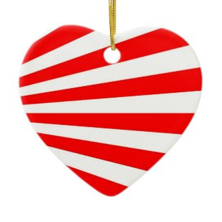 red white stripes candy heart ornament