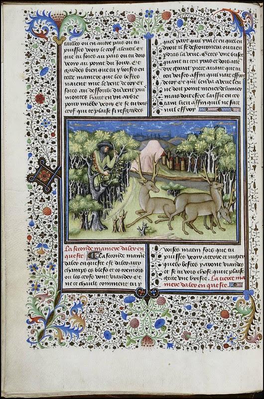 15th century illuminated manuscript miniature: Henri de Ferrières, Les Livres du roy Modus et de la royne Ratio 19
