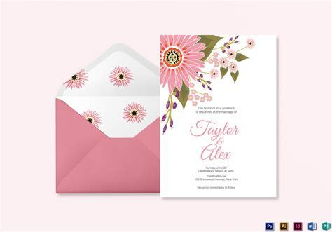 Floral Wedding Invitation Card Design Template in