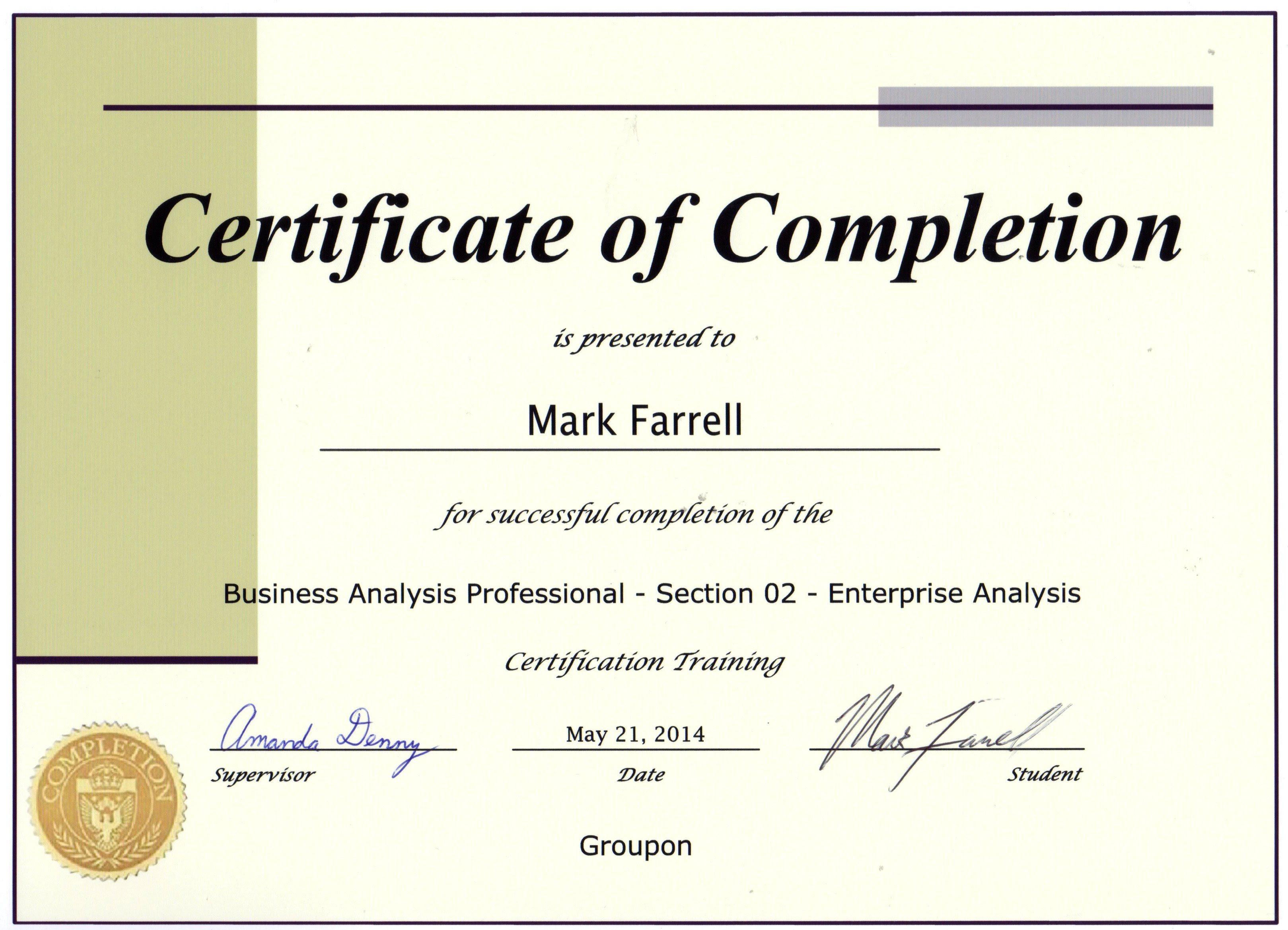 Certificate Business Analysis - certificates templates free