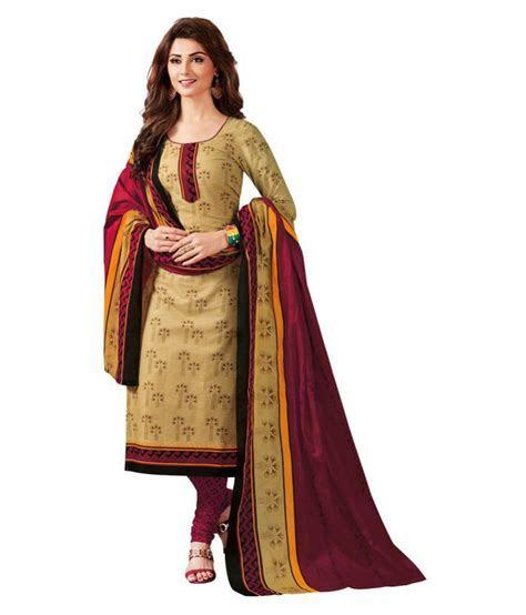 Baalar Beige and Red Cotton Dress Material   Buy Baalar