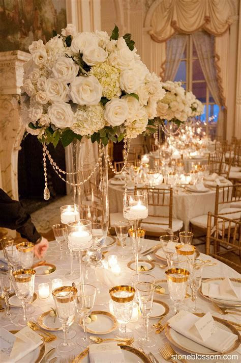elegant white and crystal centerpiece wedding rosecliff