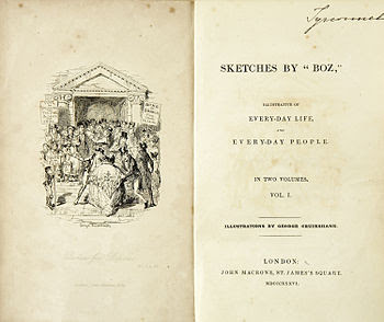 "English: Frontispiece of ""Sketches by Boz..."