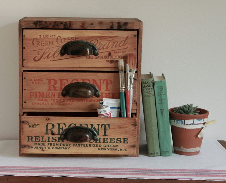 repurposed items | ... - Multi Drawer Desk Organizer from Repurposed Vintage Cheese Boxes
