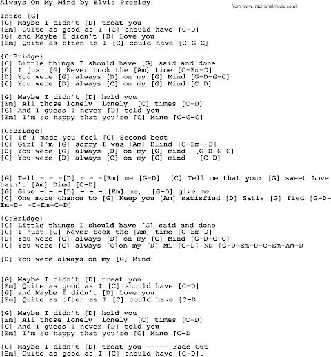 Always On My Mind By Elvis Presley Lyrics