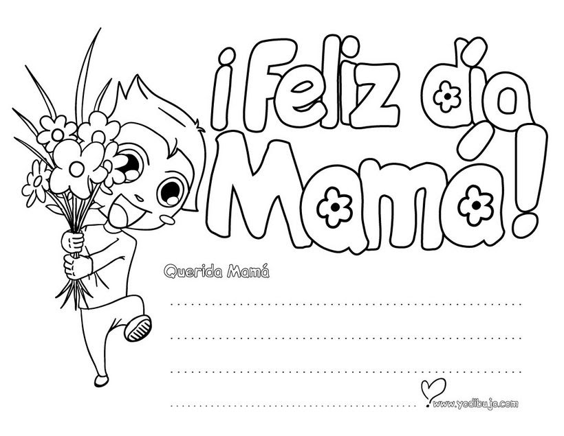 Dibujos Para Colorear Mensaje Día De La Madre Eshellokidscom
